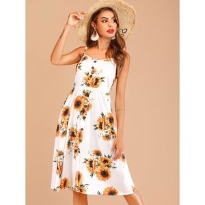Floral Print Button Front Cami Dress M